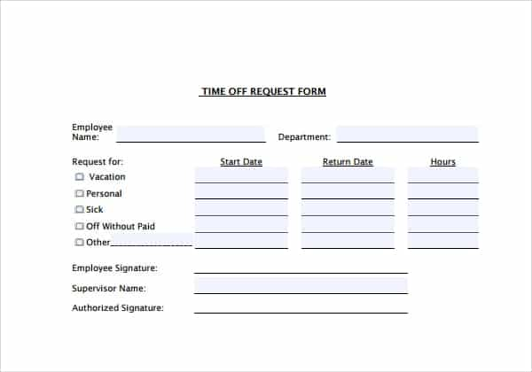Request For Time Off Form. Time Off Request Form Excel Time Off