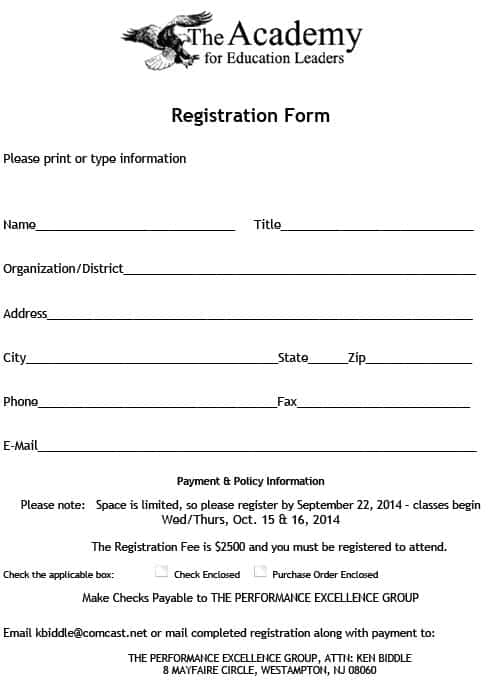 Academy Registration Form Templates Word Excel Fomats