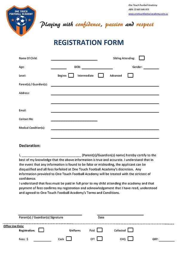 Budget Rental Car Sales >> Academy Registration Form Templates - Word Excel Fomats