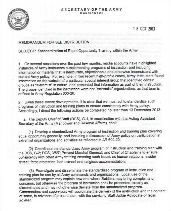 Army Memorandum Templates Word Excel Fomats