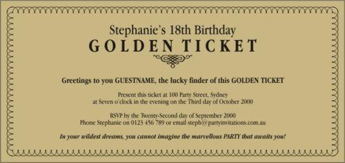 8 golden ticket templates word excel fomats. Black Bedroom Furniture Sets. Home Design Ideas