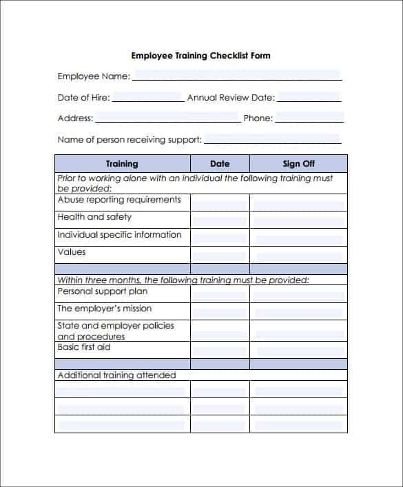 Training-Checklist-Template-1. Job Application Form Template In Excel on add customer, blank purchase order, office supply request, first article inspection, new hire intake, delivery order, book order, uniform order,