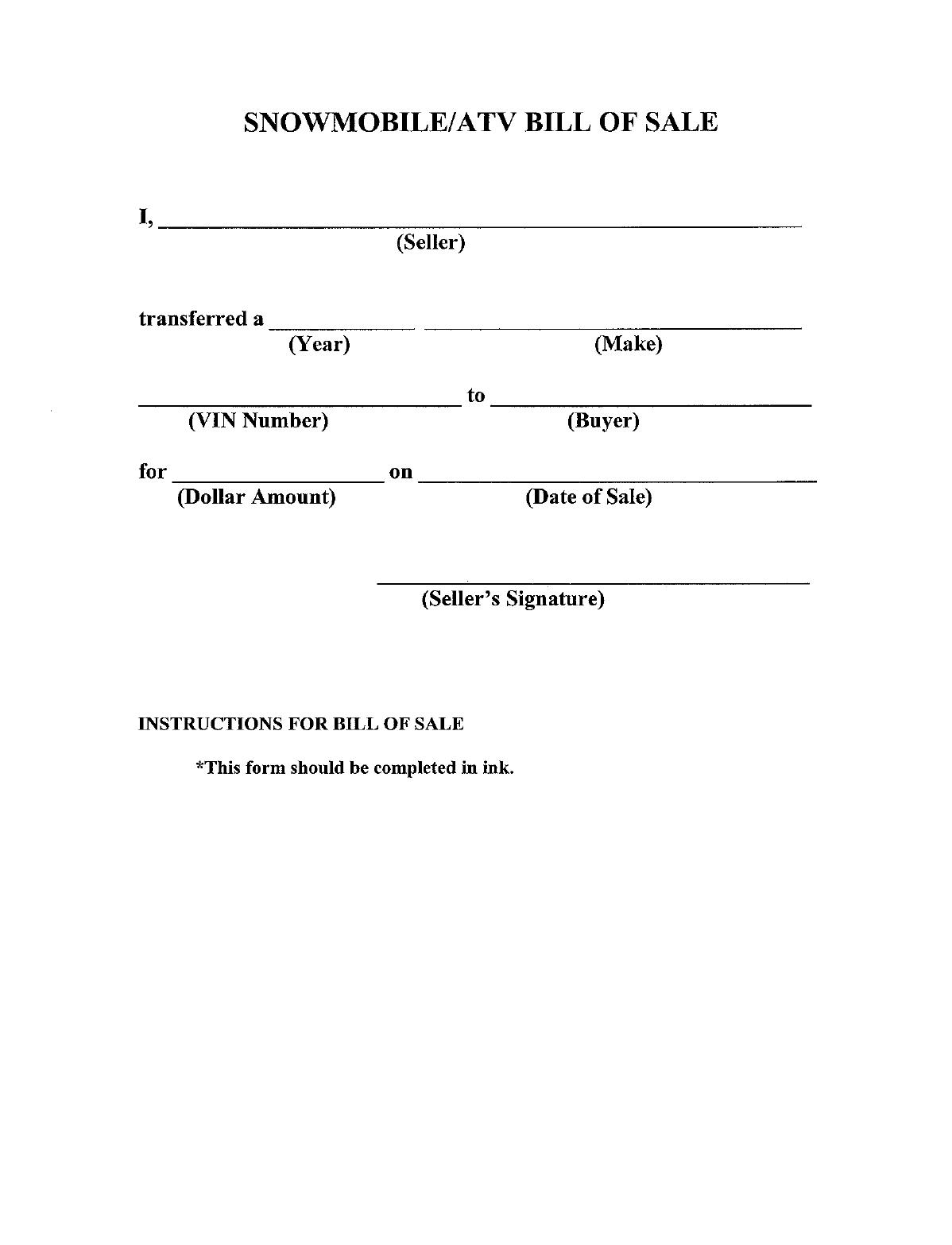 Atv Bill Of Sale Templates Word Excel Fomats