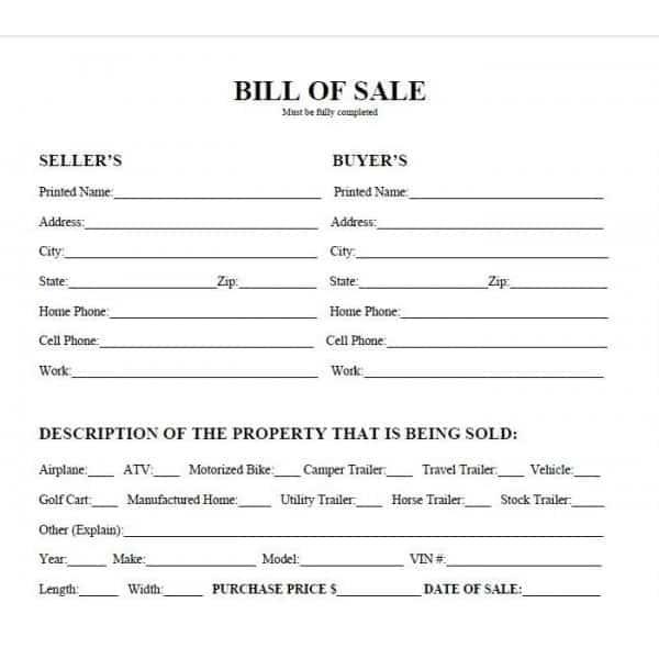 ATV Bill Of Sale Templates