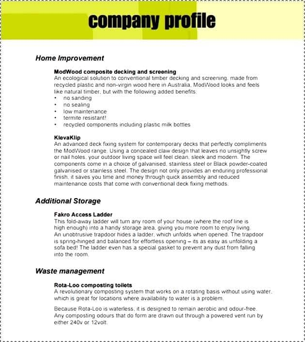 Company Profile Samples - Word Excel Fomats