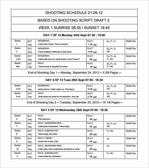 12 shooting schedule templates word excel pdf word. Black Bedroom Furniture Sets. Home Design Ideas