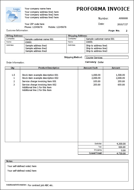 Proforma Invoice Templates Word Excel Fomats