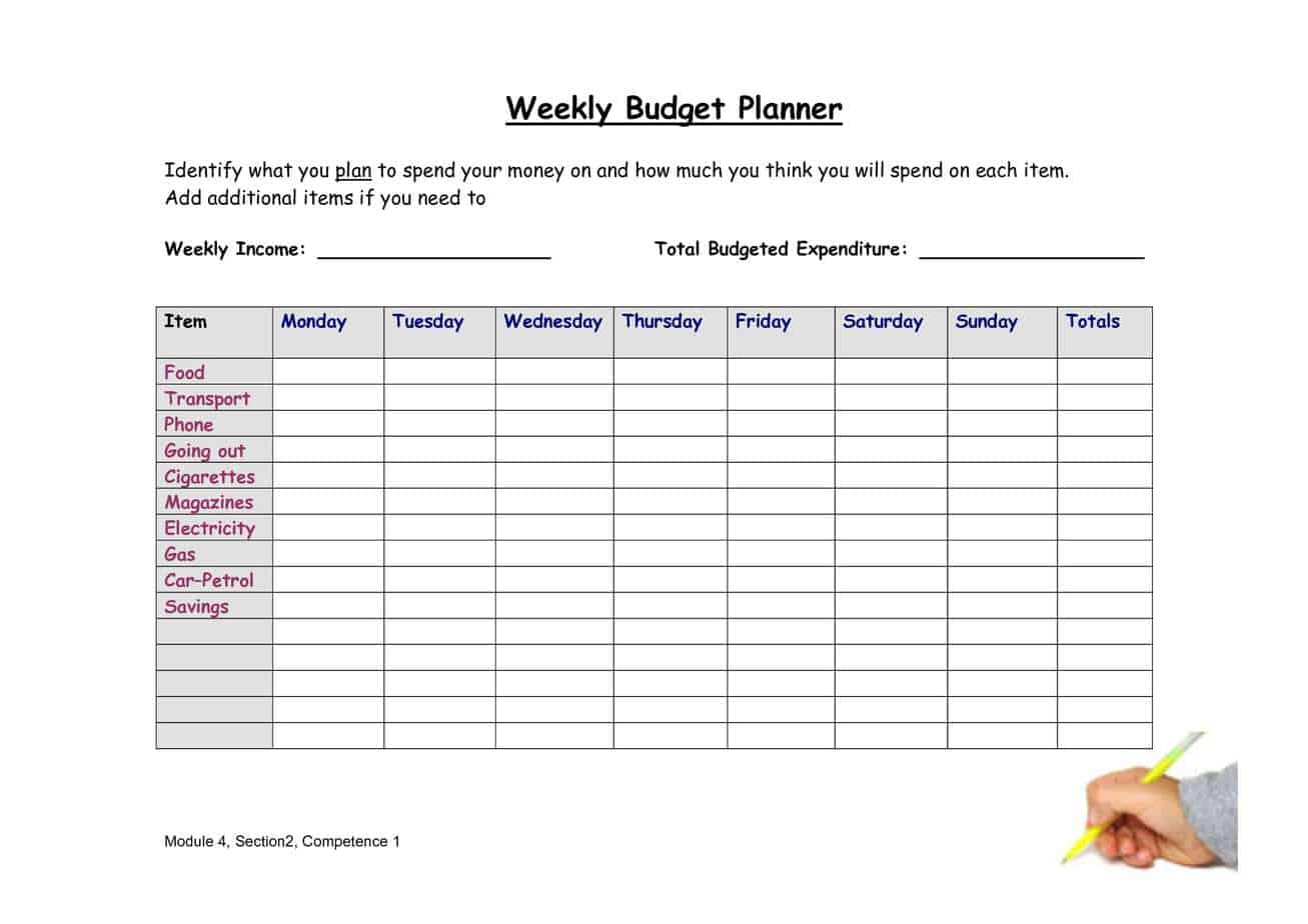 Gratifying image intended for weekly planner sheet