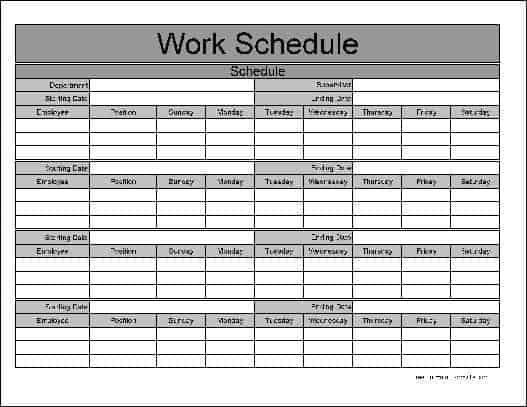 Work Schedule Templates - Word Excel Fomats