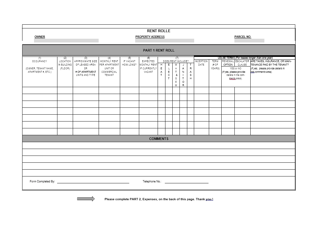 15 Free Rent Roll Templates Word Excel Fomats